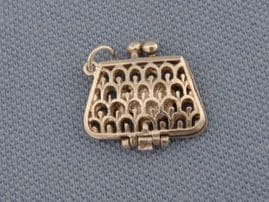 Vintage Silver Charm - A little handbag with COMPACT and Lipstick inside!
