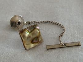 Vintage Tie Pin - A  1970's Tie Tack set with a Square of Real Shell
