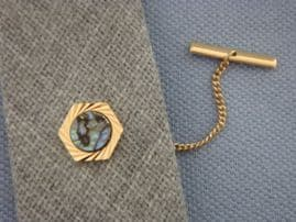 Vintage Tie Tack set with Abalone Shell - Gold Plated Tie Pin  (SOLD)