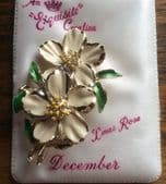 Xmas Rose Brooch 1960's  Flower of the Month Pin for December Signed Exquisite (SOLD)