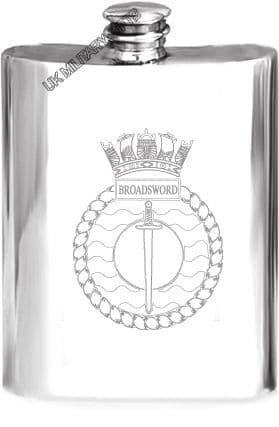 HMS Broadsword Pewter Hip Flask