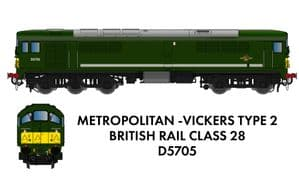 Rapido 905005 Metrovick Class 28 Co-Bo, No.D5705, BR Green with SYP {NOT YET RELEASED]