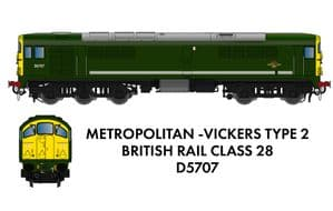 Rapido 905504 Metrovick Class 28 Co-Bo, No.D5707, BR Green with FYE, DCC SOUND {NOT YET RELEASED]