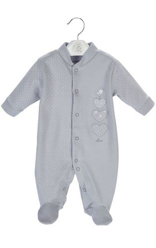 """Triple Hearts "" 100% Cotton Onesie grey"