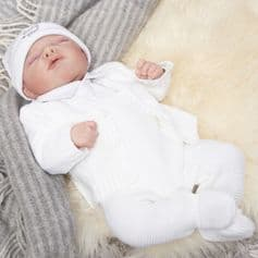 A2020W Cable knitted baby cardigan
