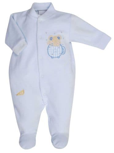 Mouse & Teacup Velour Sleepsuit B