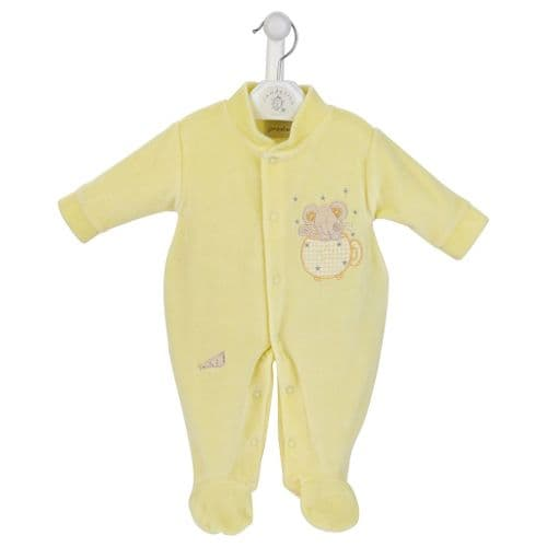 Mouse & Teacup Velour Sleepsuit L