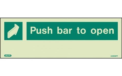 4304PT/R - PUSH BAR TO OPEN SIGN 120 x 340mm