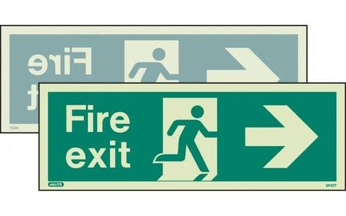 430DST/R - DOUBLE-SIDED FIRE EXIT SIGN RIGHT OR LEFT 120 x 340mm