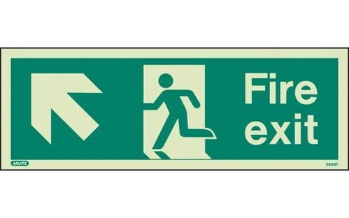 434T/R - FIRE EXIT SIGN UP TO THE LEFT 120 x 340mm