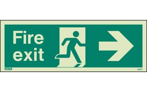 435T/R - FIRE EXIT SIGN RIGHT 120 x 340mm