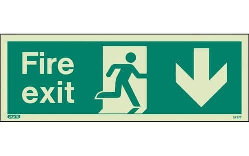 437T/R - FIRE EXIT SIGN DOWN 120 x 340mm