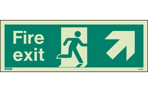 438T/R - FIRE EXIT SIGN UP TO THE RIGHT 120 x 340mm