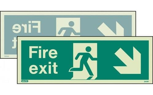439DST/R - DOUBLE-SIDED FIRE EXIT SIGN DOWN TO THE RIGHT OR DOWN TO THE LEFT 120 x 340mm