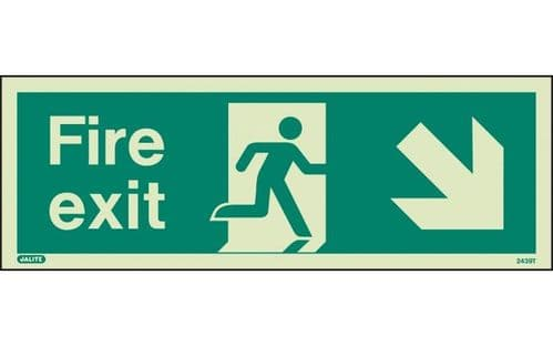 439T/R - FIRE EXIT SIGN DOWN TO THE RIGHT 120 x 340mm