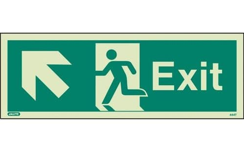 444T/R - EXIT SIGN UP TO THE LEFT 120 x 340mm