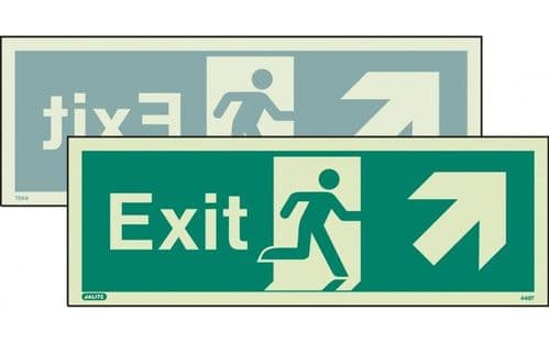 449DST/R - DOUBLE-SIDED EXIT SIGN UP TO THE RIGHT OR UP TO THE LEFT 120 x 340mm
