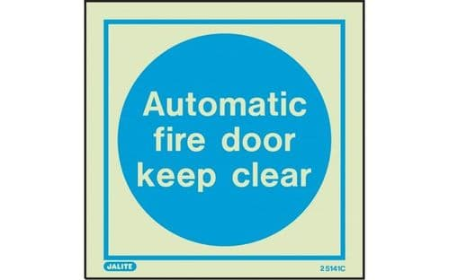 5141C/R - AUTOMATIC FIRE DOOR KEEP CLEAR SIGN 150 X 150mm