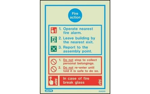 5425D/R - GENERAL FIRE ACTION NOTICE 200 x 150mm