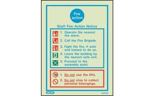 5479D/R - STAFF FIRE ACTION NOTICE SIGN 200 X 150mm