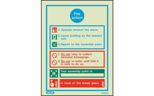 5537D/R - GENERAL FIRE ACTION NOTICE WITH SPACE FOR ASSEMBLY POINT 200 X 150mm