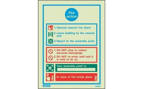 5537DD/R - GENERAL FIRE ACTION NOTICE WITH SPACE FOR ASSEMBLY POINT 300 X 200mm