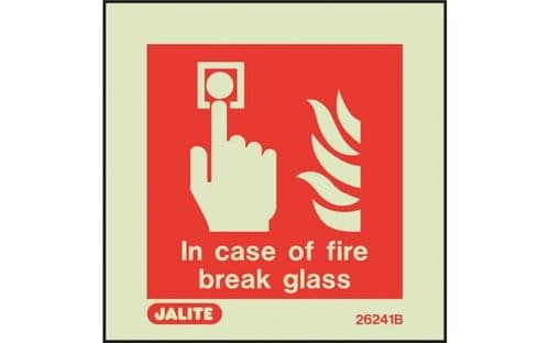 6241B/R - IN CASE OF FIRE BREAK GLASS CALL POINT SIGN