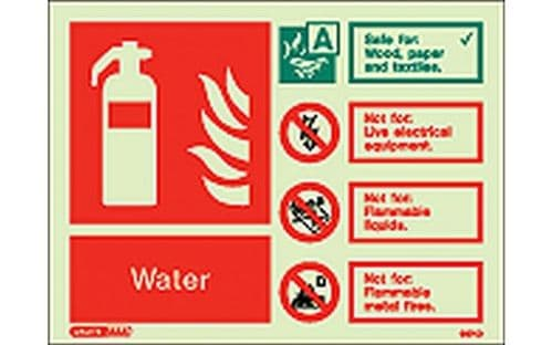 6374D/R - WATER EXTINGUISHER IDENTIFICATION SIGN 150 x 200mm