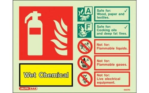6407D/R - WET CHEMICAL SIGN 150 x 200mm