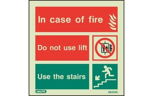 6434C/R - IN CASE OF FIRE SIGN