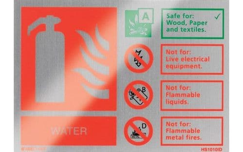 HS1010ID - BRUSHED ALUMINIUM WATER EXTINGUISHER IDENTIFICATION SIGN