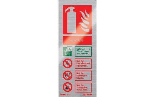 HS1010M - BRUSHED ALUMINIUM WATER EXTINGUISHER IDENTIFICATION SIGN (portrait)