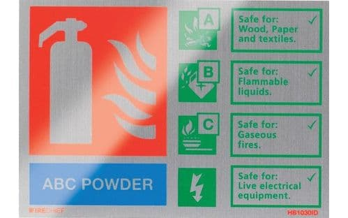 HS1030ID - BRUSHED ALUMINIUM ABC POWDER EXTINGUISHER IDENTIFICATION SIGN