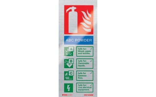 HS1030M - BRUSHED ALUMINIUM ABC POWDER EXTINGUISHER IDENTIFICATION SIGN (portrait)