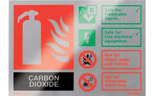 HS1040ID - BRUSHED ALUMINIUM CO2 EXTINGUISHER IDENTIFICATION SIGN