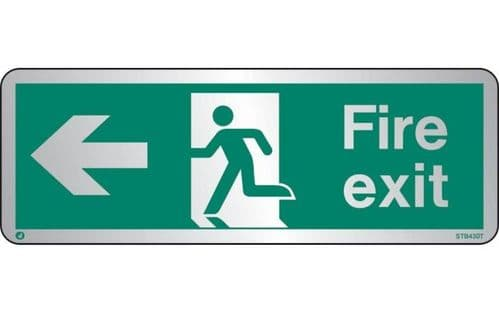 STB430T - BRUSHED STAINLESS STEEL FIRE EXIT SIGN LEFT WITH RADIUS CORNER