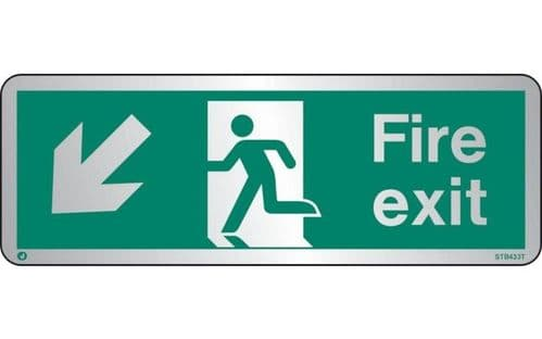 STB433T - BRUSHED STAINLESS STEEL FIRE EXIT SIGN DOWN TO THE LEFT WITH RADIUS CORNER