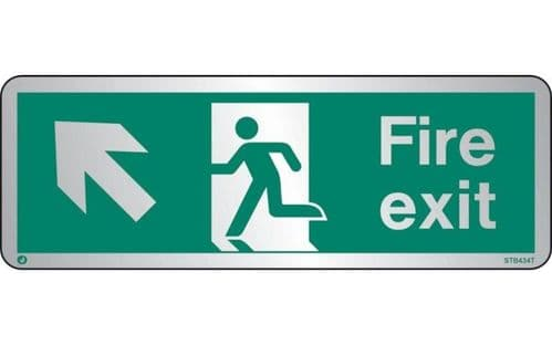 STB434T - BRUSHED STAINLESS STEEL FIRE EXIT SIGN UP TO THE LEFT WITH RADIUS CORNER