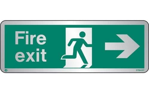 STB435T - BRUSHED STAINLESS STEEL FIRE EXIT SIGN RIGHT WITH RADIUS CORNER