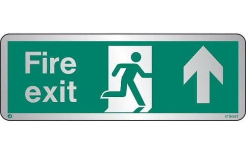 STB436T - BRUSHED STAINLESS STEEL FIRE EXIT SIGN UP/FORWARDS WITH RADIUS CORNER