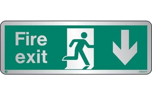 STB437T - BRUSHED STAINLESS STEEL FIRE EXIT SIGN DOWN WITH RADIUS CORNER