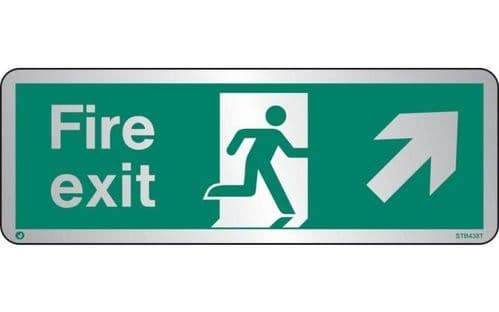 STB438T - BRUSHED STAINLESS STEEL FIRE EXIT SIGN UP TO THE RIGHT WITH RADIUS CORNER