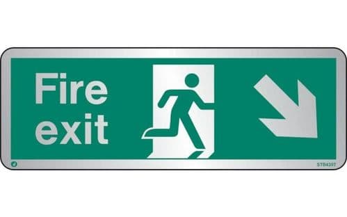 STB439T - BRUSHED STAINLESS STEEL FIRE EXIT SIGN DOWN TO THE RIGHT WITH RADIUS CORNER