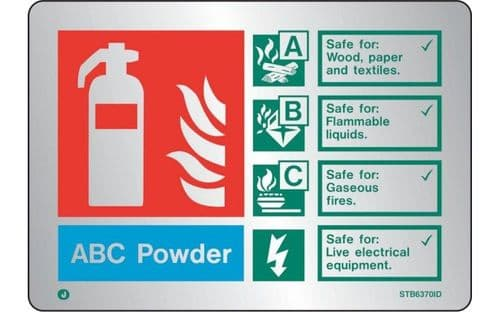 STB6370ID - BRUSHED STAINLESS STEEL ABC POWDER EXTINGUISHER IDENTIFICATION SIGN WITH RADIUS CORNER