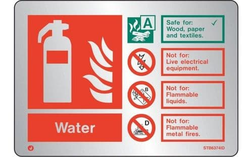 STB6374ID - BRUSHED STAINLESS STEEL WATER EXTINGUISHER IDENTIFICATION SIGN WITH RADIUS CORNER