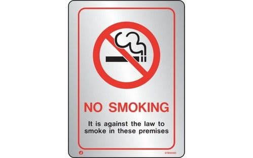 STB9030D - BRUSHED STAINLESS STEEL PROHIBITION NO SMOKING AGAINST THE LAW SIGN WITH RADIUS CORNER