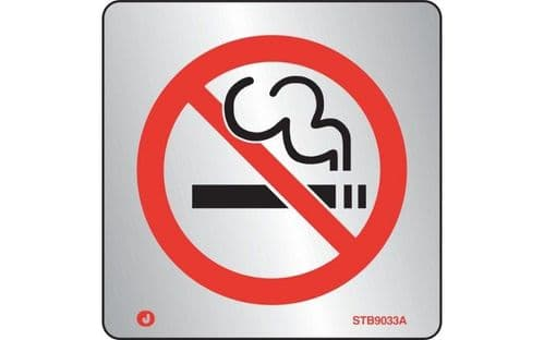 STB9033A - BRUSHED STAINLESS STEEL PROHIBITION NO SMOKING SIGN WITH RADIUS CORNER