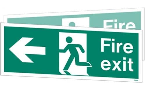 W430DSK - DOUBLE-SIDED FIRE EXIT SIGN TO THE RIGHT OR LEFT