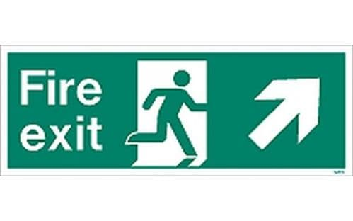 W438K - FIRE EXIT SIGN UP TO THE RIGHT