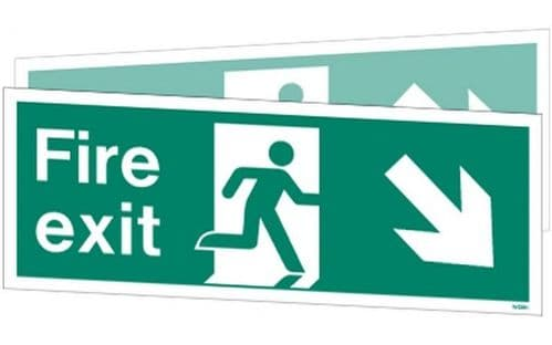 W439DSK - DOUBLE-SIDED FIRE EXIT SIGN DOWN TO THE RIGHT OR LEFT 150 x 400mm